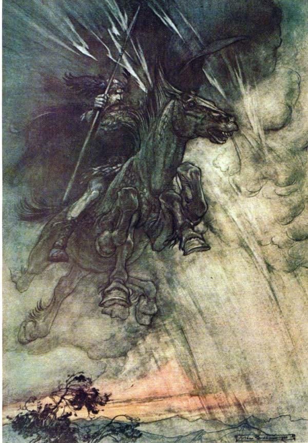 Odín sobre Sleipnir portando a Gungnir