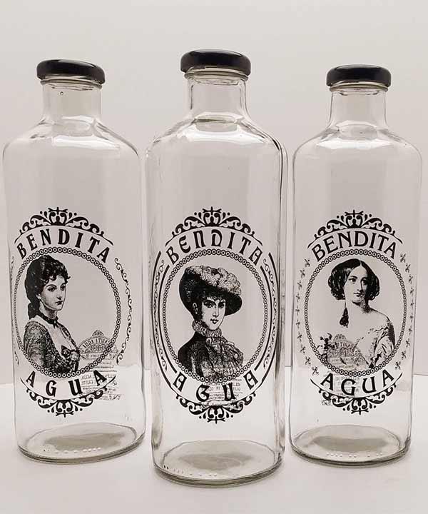 botellas de cristal estilo vintage y con cierre de rosca