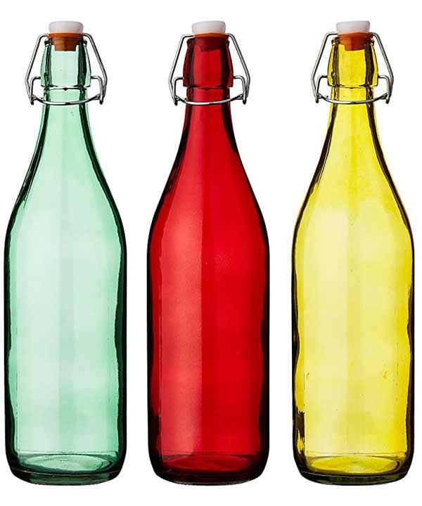 juego de 6 botellas de cristal en distintos colores con cierre hermetico