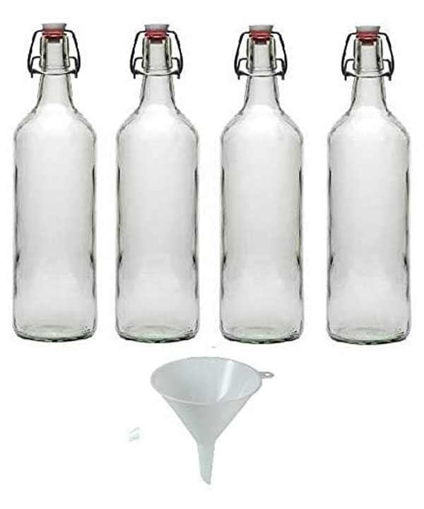 pack de cuatro botellas de cristal con embudo y cierre hermetico