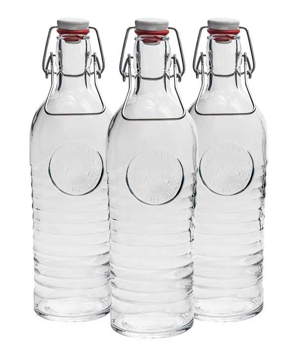 pack de tres botellas de cristal con cierre a presion