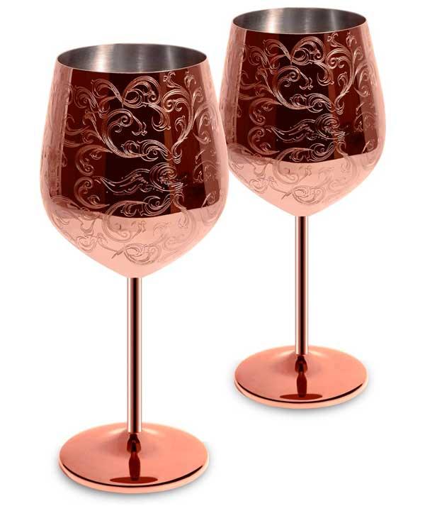 copas de vino de acero